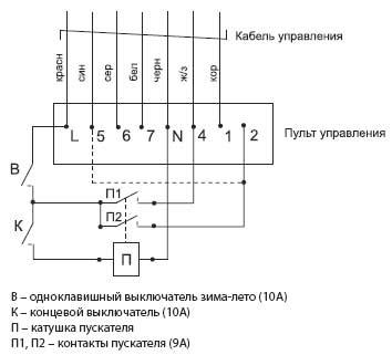 ...завесой посредством концевого выключателя его необходимо подключить в соответствии с приведенной схемой, при...